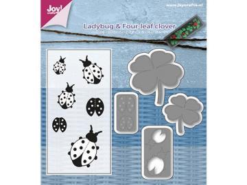 Stanzschablone und Stempelset Joy!Crafts 'Marienkäfer & Kleeblatt'